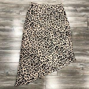 Dynamite Silk Leopard MIDI Skirt